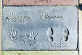 Morgan Freemans handprints in Hollywood Boulevard in the concret — Stock Photo