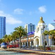 Stock Photo: Train arrives at Union Station in SDiego, USA