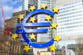 Famous euro sign in Frankfurt am Main wide-angle shot — Stock Photo