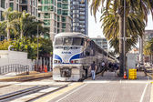 Diesel train arrives at Union Station — Stock Photo