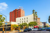 Facade of historic hotel St. James in gas lamp district in San D — Stock Photo