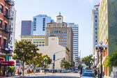 Facade of historic houses in the gaslamp quarter — Stock Photo