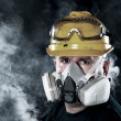 Man wearing respirator - Stock Photo