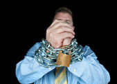 Chained businessman — Stock Photo