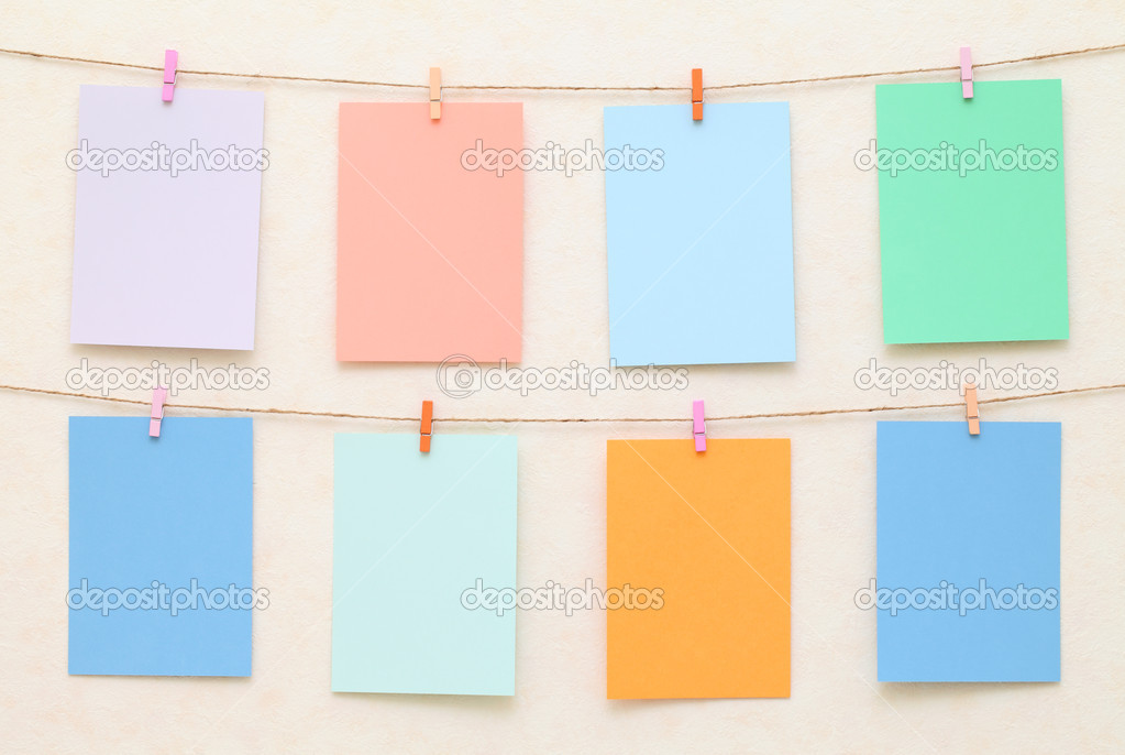 Blank paper with clothespins — Stock Photo #10739153