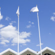 Flags near international business center — Stock Photo