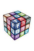 V 2.0 di cubo di rubik sociale — Vettoriale Stock