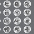 Social 3d silver icons - Stockvectorbeeld