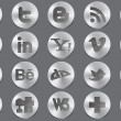 Social 3d silver icons - Stock Vector