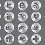 Social 3d silver icons — Stock Vector