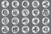 Social 3d silver icons — Stock Vector