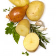 Potatoes Onions Garlic and Herbs over White — Stock Photo