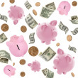 Piggy Banks and American Money Flying over White — Foto Stock