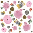 Piggy Banks and Australian Money Falling over White — ストック写真