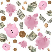 Piggy Banks and American Money Flying over White — Stock Photo