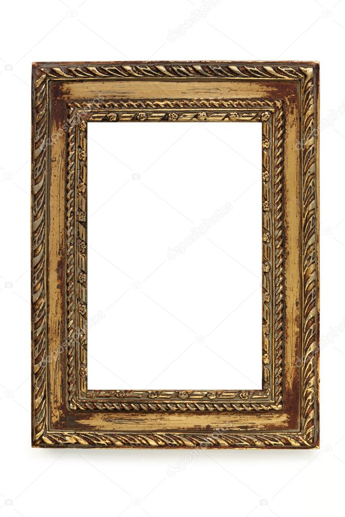 Gilded shabby chic picture frame over white background. — Stock Photo #11031681