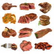 Meat Collection over White - Stock Photo