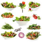 Sbírka izolovaných salátů — Stock fotografie