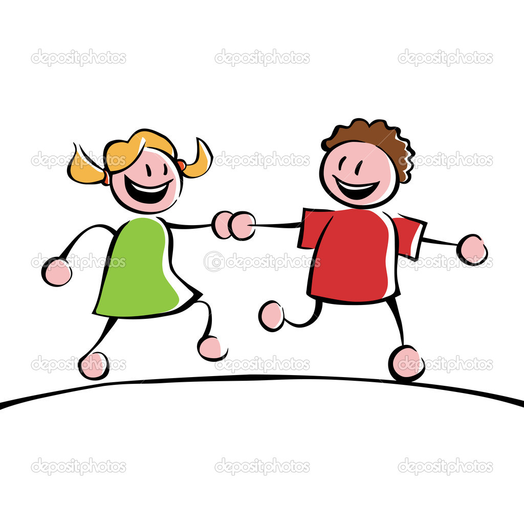 Two running kids (boy and girl) holding hands — Stock Vector #11252689