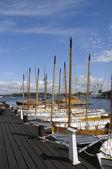 Traditional sloops in Karlskrona marina — Stock Photo