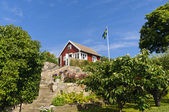 Red cottage in Sweden — Stock Photo