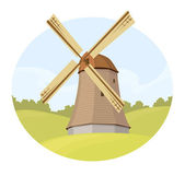 Landscape with windmill — Stock Vector