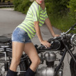 Motorcycle bride — Stock Photo