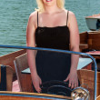 Blonde woman in boat — Stock Photo #11760083
