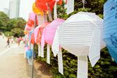 Closeup of white paper lantern during lotus lantern festival — Stock Photo