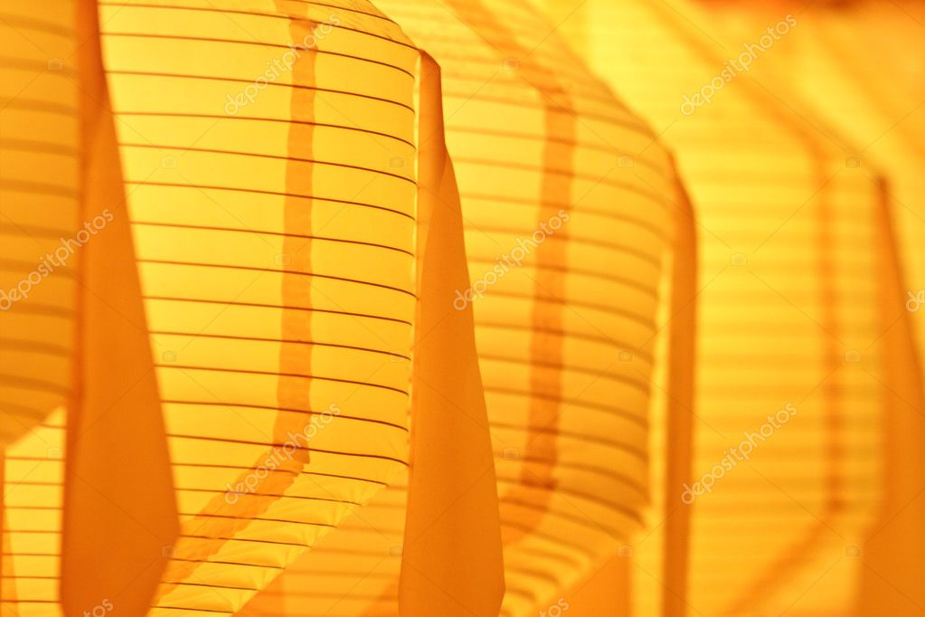 Closeup of glowing yellow paper lantern — Stock Photo #10844901