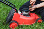 Lawn mower repair — Stockfoto