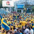 Fans of the Swedish national team — Stock Photo
