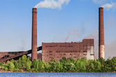 Metallurgical Works on the riverside — Stock Photo
