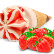 Ice cream  with strawberry — Stock Photo
