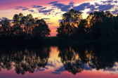 Sunset on river — Stock Photo