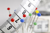 Measuring Tape and Pins — Stock Photo