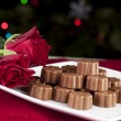 Stock Photo: Choclolates and Roses