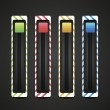 Equalizer and player glossy metal buttons with track bar. — Vector de stock