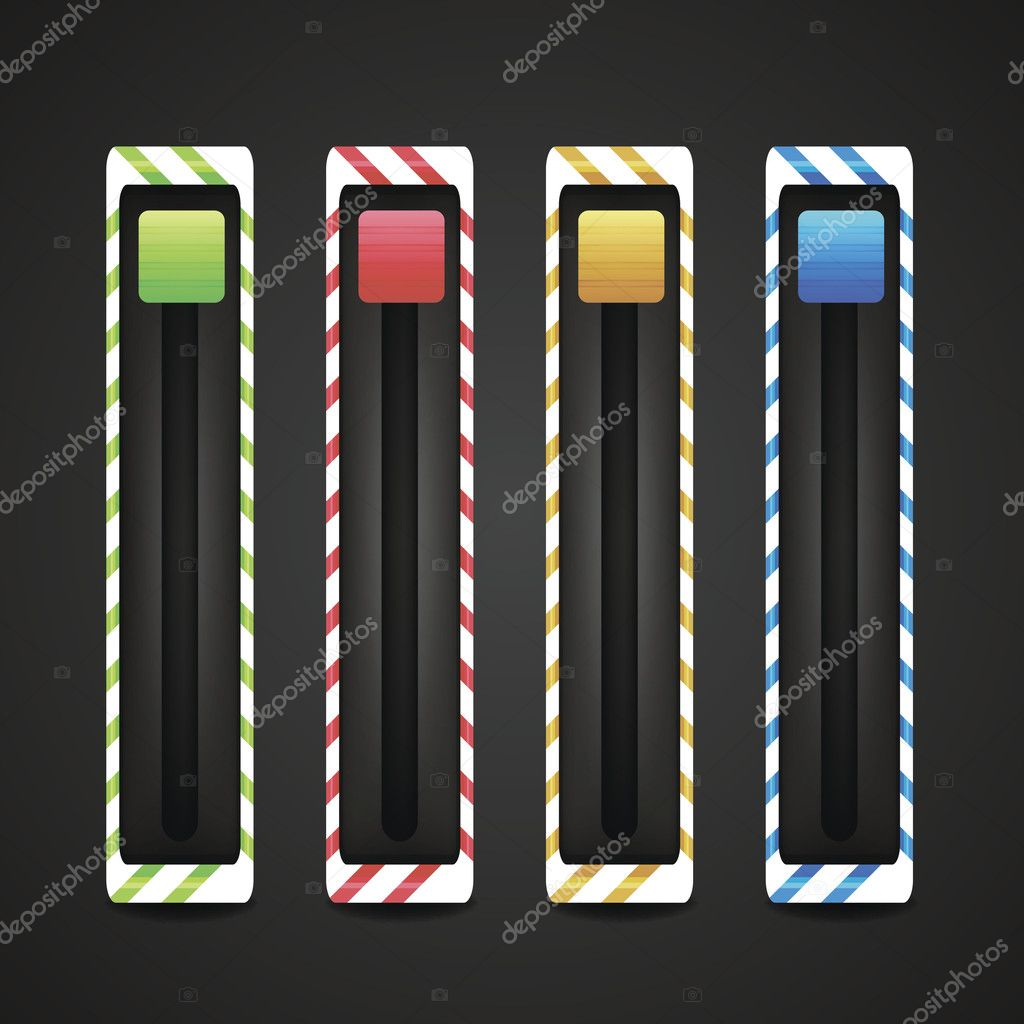 Equalizer and player glossy metal buttons with track bar. Set of vector media elements. — Stock Vector #11149880
