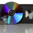 Videotape with cd and usb stick — Stock Photo