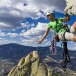 Climber rappels. — Stock Photo