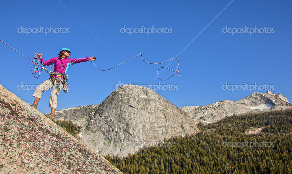 Climber rappelling from the summit after a challenging ascent. — Stock Photo #11251436