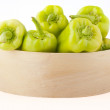 Green peppers in box — Stock Photo