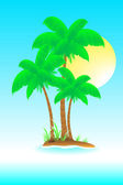 Enigmatic island with sun and palm — Stock Vector