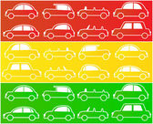 Cars in colors of traffic lights — Stock Vector