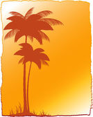 Tropical landscape with palm and sunset — Stock Vector