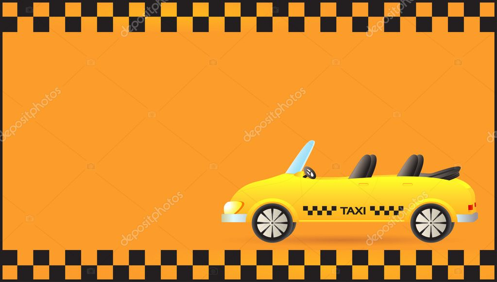 Visiting card with taxi car cabriolet - Stock Illustration