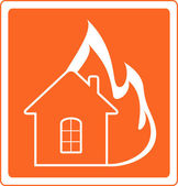 Red sign house fire — Stock Vector
