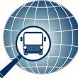 Symbol travel with bus in magnifier — Imagen vectorial