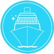 Sign with ship in round and star — Stock Vector
